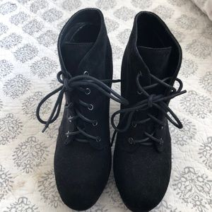 Forever Black Lace Up Booties
